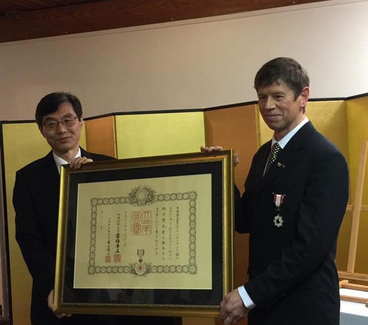 Stephen Duxfield received The Order of Rising Sun